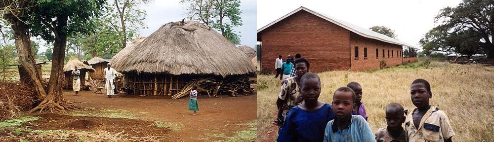 Village hut and first school