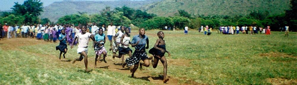 Village girls running